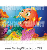 Clip Art of a Carnivorous Fish Biting a Lure by Graphics RF