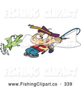 Clip Art of a Cartoon Fishing Boy Reeling in a Fish, on White by Toonaday