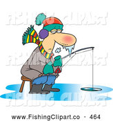 Clip Art of a Cartoon Frozen Man Ice Fishing, Icicles Forming on His Long Nose by Toonaday