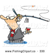 Clip Art of a Cartoon Man Fancy Fishing with Wine, on White by Toonaday