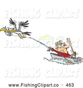 Clip Art of a Cartoon of a Bad Gull Stealing a Fish from a Hard Working Fisherman by Toonaday