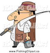 Clip Art of a Cartoon Short White Guy Walking in Profile with Fishing Gear by BNP Design Studio