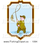 Clip Art of a Cartoon Wading Caucasian Fisherman Reeling in a Fish in a Yellow Brown White and Blue Shield by Patrimonio