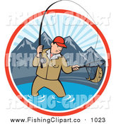 Clip Art of a Cartoon White Man Fly Fishing in a Mountainous Lake Circle by Patrimonio