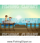 Clip Art of a Caucasian Father and Son Fishing by a Dock by Graphics RF