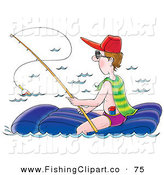 Clip Art of a Caucasian Man Sitting on a Float and Fishing by Alex Bannykh