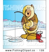 Clip Art of a Cheerful Happy Man Wearing a Coat and Ice Fishing on a Frozen Lake by Snowy