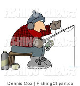 Clip Art of a Cold Man Ice Fishing in the Wintertime by Djart