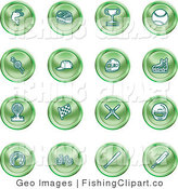 Clip Art of a Collection of Green Icons on a White Background by AtStockIllustration