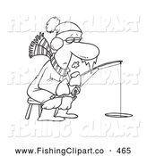 Clip Art of a Coloring Page of a Frozen Man Ice Fishing by Toonaday
