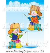 Clip Art of a Couple of Boys Ice Fishing on a Frozen Lake by Alex Bannykh