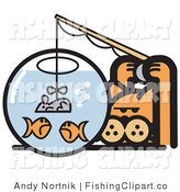 Clip Art of a Crafty Orange Cat Trying to Fool Goldfish in a Bowl by Using a Mouse As a Fishing Lure by Andy Nortnik