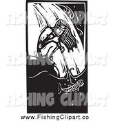Clip Art of a Crouching Native American Man Spear Fishing at a Waterfall Black and White Woodcut by Xunantunich