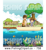 Clip Art of a Dad and Son Fishing by Graphics RF