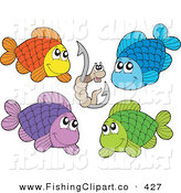 Clip Art of a Digital Collage of Four Colorful Fish and a Worm on a Hook by Visekart