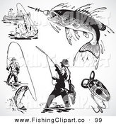 Clip Art of a Digital Group of Retro Black and White Fishermen and Fish by BestVector