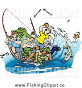 Clip Art of a Drunk Men Fishing with an Alligator in the Boat by Dennis Holmes Designs