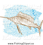 Clip Art of a Engraved Sailfish and Blue Water by Patrimonio