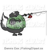 Clip Art of a Fat Skunk Wearing a Vest While Fishing by Djart