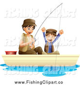 Clip Art of a Father and Cheering Son Fishing by Graphics RF