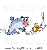 Clip Art of a Female Fish Chasing a Male Worm Holding onto a Hook by LaffToon
