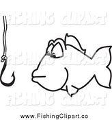 Clip Art of a Fish and Hook Fishing for Business by Toons4Biz