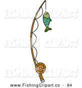 Clip Art of a Fish Caught on a Fishing Pole on White by Andy Nortnik