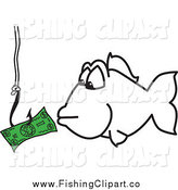Clip Art of a Fish Eyeing Money on a Hook by Toons4Biz