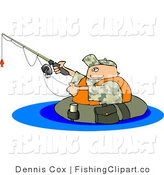 Clip Art of a Fisherman Fishing and Floating in a Tube by Djart