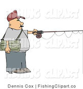 Clip Art of a Fisherman Holding out a Pole by Djart