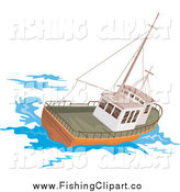 Clip Art of a Fishing Boat at Sea by Patrimonio