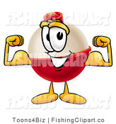 Clip Art of a Fishing Bobber Mascot Cartoon Character Flexing His Buff Arm Muscles by Toons4Biz