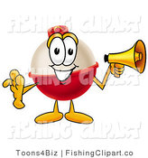 Clip Art of a Fishing Bobber Mascot Cartoon Character Holding a Megaphone in Its Hand by Toons4Biz