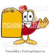Clip Art of a Fishing Bobber Mascot Cartoon Character Holding a Yellow Clearance Price Tag by Toons4Biz