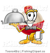 Clip Art of a Fishing Bobber Mascot Cartoon Character Serving a Thanksgiving Turkey on a Silver Serving Tray by Toons4Biz