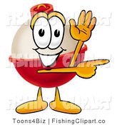 Clip Art of a Fishing Bobber Mascot Cartoon Character Waving and Pointing Right by Toons4Biz
