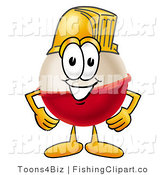 Clip Art of a Fishing Bobber Mascot Cartoon Character Wearing a Yellow Helmet by Toons4Biz