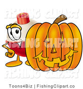Clip Art of a Fishing Bobber Mascot Cartoon Character with a Carved Halloween Jack O Lantern by Toons4Biz