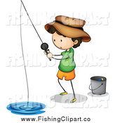 Clip Art of a Fishing Boy with a Pail by Graphics RF