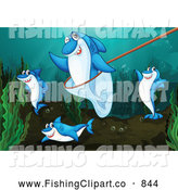 Clip Art of a Fishing Net and Sharks in the Ocean by Graphics RF