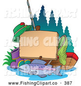 Clip Art of a Fishing Post Sign with Gear; Net, Tackle Box, Fish, Boots, Hat, Line by Visekart