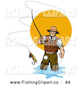 Clip Art of a Fly Fisherman Casting the Bait into the Water by Patrimonio