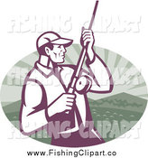 Clip Art of a Fly Fisherman Reeling in His Catch over a Mountain and Water Oval by Patrimonio