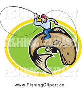 Clip Art of a Fly Fisherman Riding a Trout over a Green and Yellow Oval by Patrimonio
