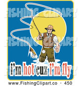 Clip Art of a Fly Fisherman with Text by Patrimonio