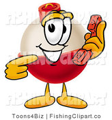 Clip Art of a Friendly Fishing Bobber Mascot Cartoon Character Holding a Telephone by Toons4Biz