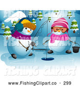 Clip Art of a Friendly Snowman Couple Ice Fishing by BNP Design Studio