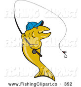 Clip Art of a Friendly Trout Wearing a Hat and Fishing by Patrimonio