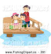 Clip Art of a Good Dad Fishing with His Kids by BNP Design Studio