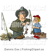 Clip Art of a Grandfather Baiting His Grandson's Fishing Hook for Him by Djart